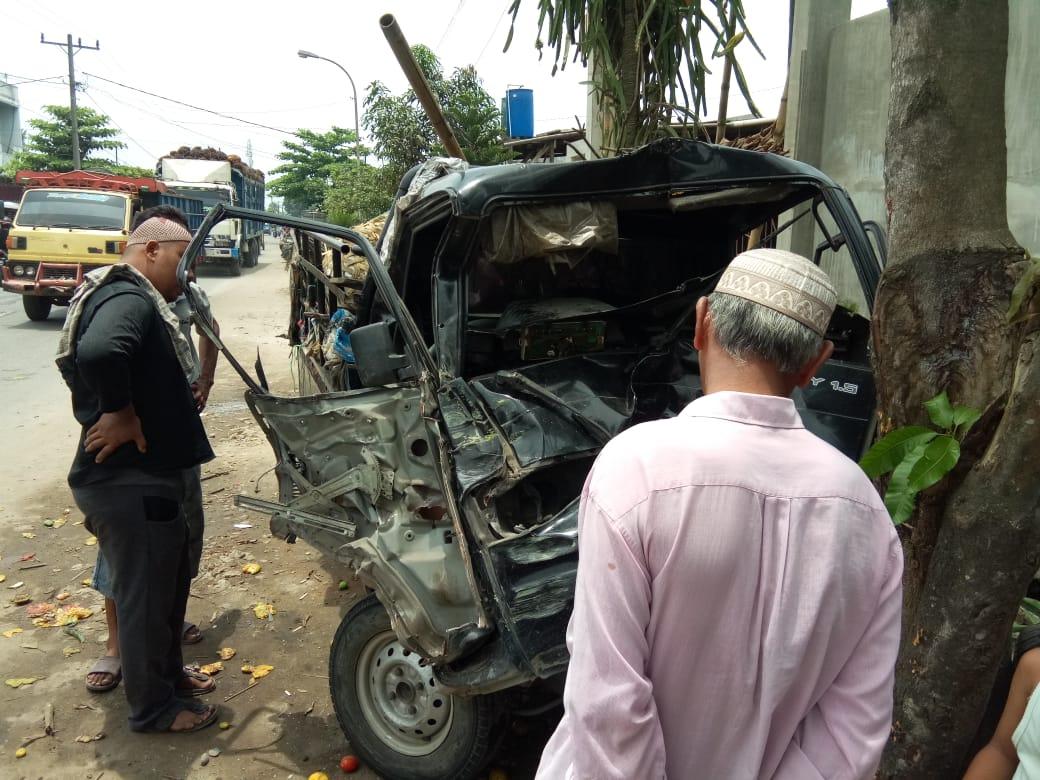 Mobil Carry Pickup Tabrak Pohon Hingga Ringsek