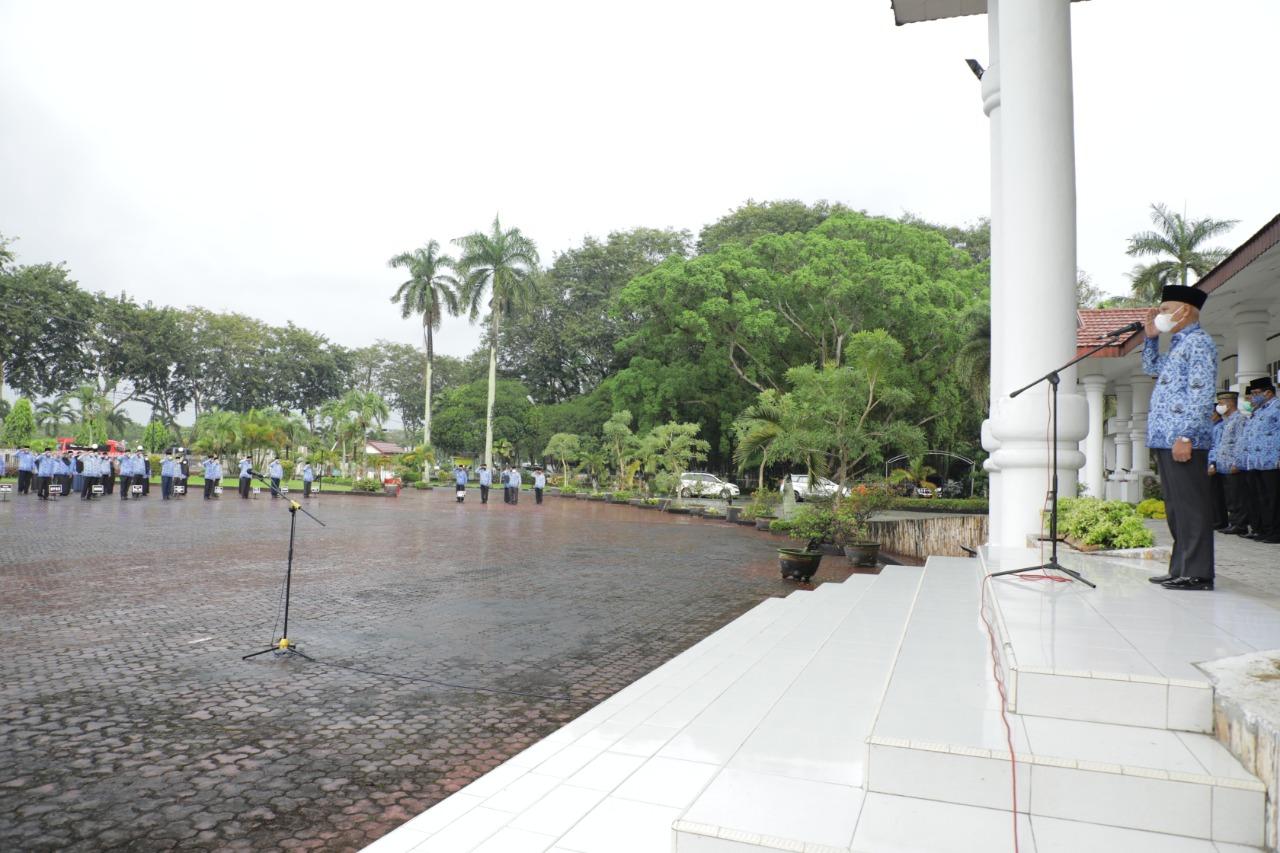 Disertai Turunnya Rintik Hujan, Pemkab Asahan Gelar Upacara HKN