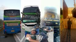 Bus Rajawali Seruduk Truk Colt Disel, Supir Luka Berat